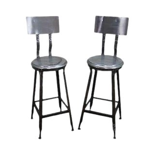 Heavy Industrial Steel Pair of Bar Stools (C) For Sale