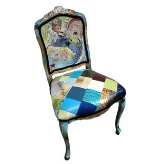 Modonutti Blue Decoupage Chiar For Sale