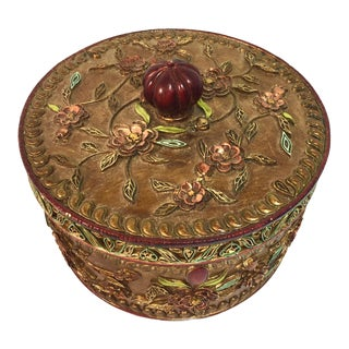 Round Decorative Box With Lid For Sale