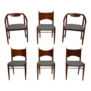 Grey Kipp Stewart Cherry Dining Chairs - Set of 6 For Sale