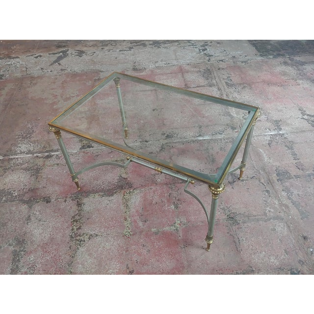 Beautiful Vintage Brass French Coffee Table W/Glass Top For Sale - Image 4 of 10