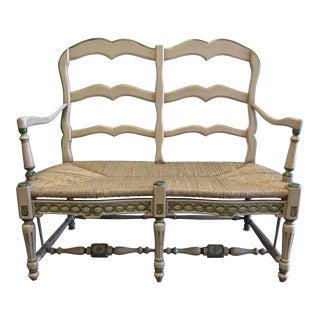 Vintage French Country Style Settee With Rush Seat