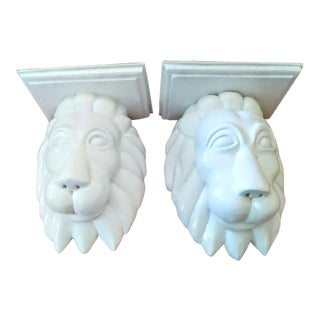 Carved Wood Lion Head White Gloss Wall Sconce Shelves - a Pair For Sale