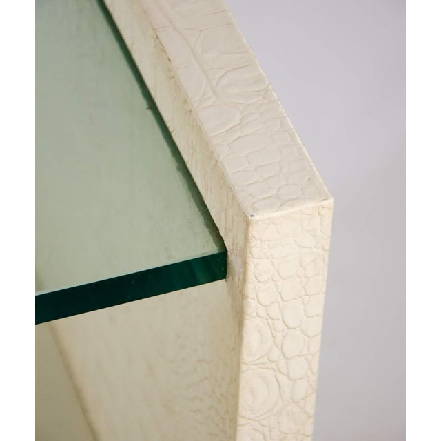 Karl Springer Albino Python Glass Top Side Table For Sale In Atlanta - Image 6 of 13