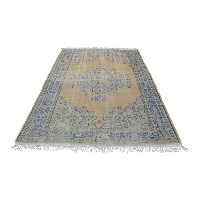 """Oversize Oushak Antique Faded Rug - 6'2"""" x 9'2"""" For Sale"""