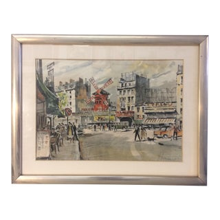 Franz Herbelot Moulin Rouge Paris Watercolor