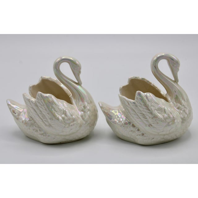 Mid-Century Modern Pair of Small Cream Lusterware Swan Cachepot Planters For Sale - Image 3 of 10