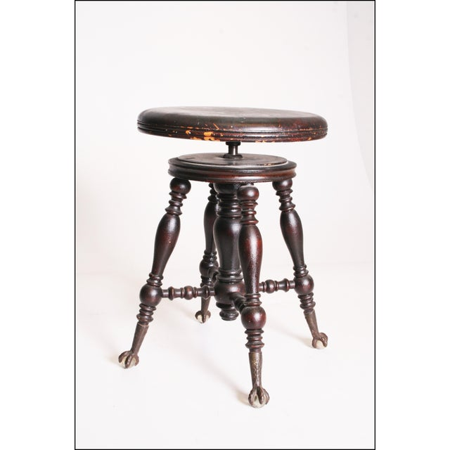 Antique Victorian Wood Adjustable Swivel Piano Stool - Image 7 of 11