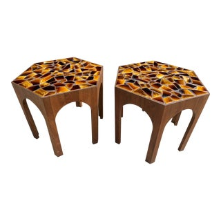 1960s Mid-Century Hexagon Wood and Tile Side Tables - a Pair For Sale