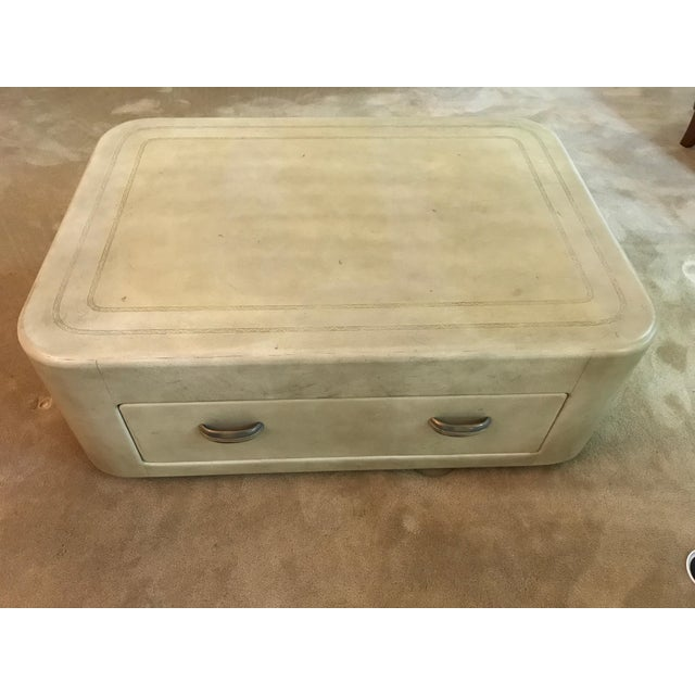 Antique Henredon Ivory Leather Cocktail Coffee Table For Image 13 Of