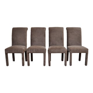 Green Velvet Parsons Chairs - set of four For Sale