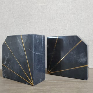 Marble & Brass Geometric Bookends, a Pair Preview