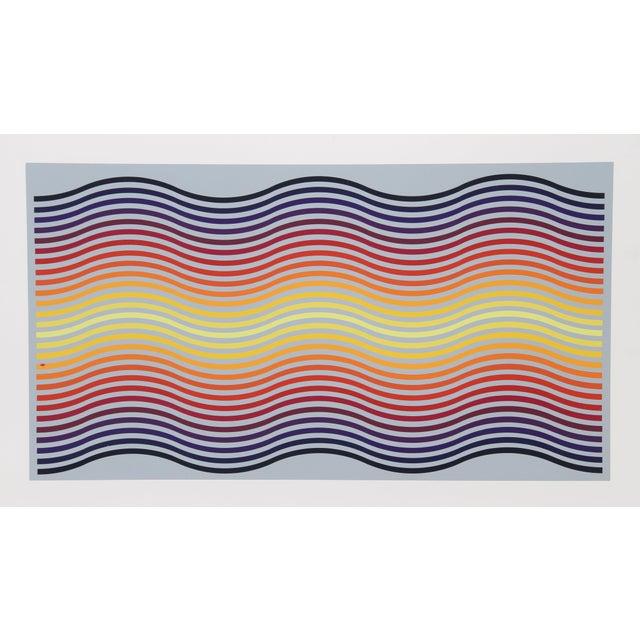 "Abstract Jurgen Peters, ""Rainbow Waves"", Op Art Screenprint For Sale - Image 3 of 3"