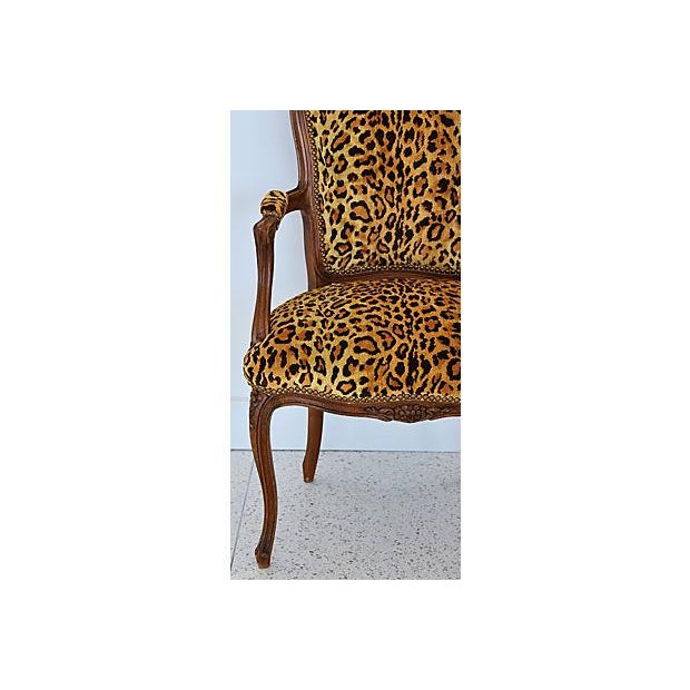 1950s Leopard Velvet Carved Armchair For Sale - Image 4 of 12