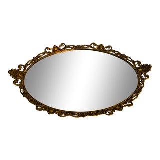Vintage Ormolu Oval Mirror Vanity Tray For Sale