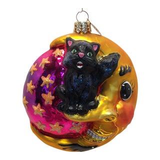 Christopher Radko Black Cat on Moon Ornament