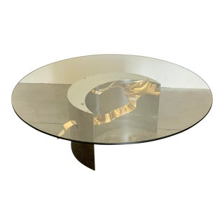 Post Modern Stainless Steel and Brass Ribbon Coffee Table, 1980's For Sale