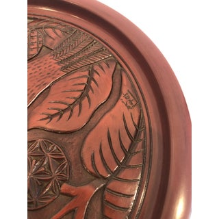 Vintage Carved Wood Lacquer Japanese Tea Tray Plate With Bird Preview