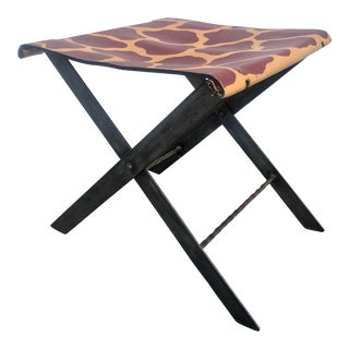 Campaign Style Folding Stool For Sale