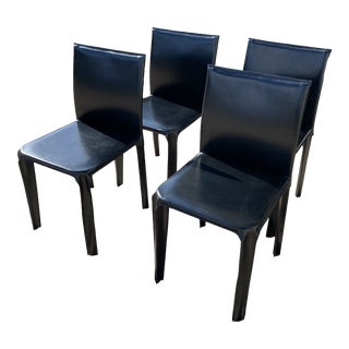 Set of Four Italian Arper Leather Dining Chairs For Sale