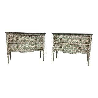 Pair of 18th C Italian Neo-Classical Style Painted Commodes For Sale