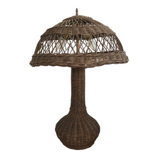 Antique 1900s Wicker Rattan Table Lamp For Sale
