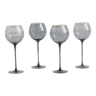Siren Beverageware Charcoal + Gold White Wine - Set of 4 For Sale