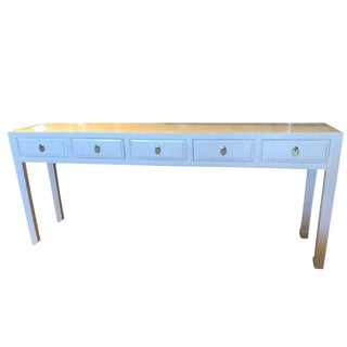 Asian Modern White Lacquer 5- Drawer Console Table For Sale