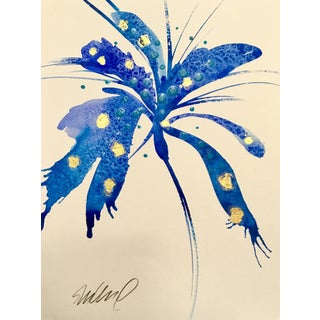 """Blue Blast, Botanical 9x12"""" Original Watercolor With Gold. For Sale"""