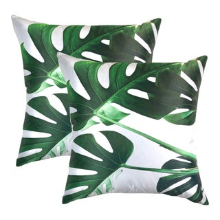 Silhouette Foliage Pillows - a Pair For Sale