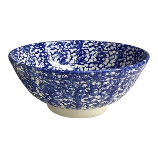 Roma Inc. Blue & White Spongeware Serving Bowl