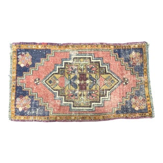 Vintage Distressed Turkish Handmade Red-Blue Small Rug For Sale