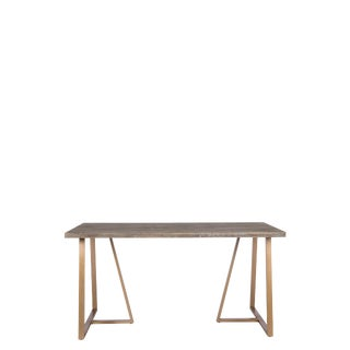 Contemporary Robbie Wood with Gold Metal Legs Desk For Sale