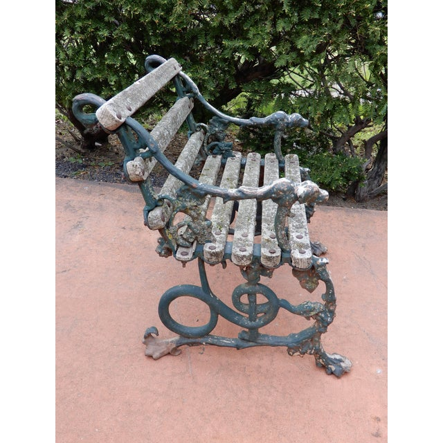 Gray Coalbrookdale Antique Cast Iron Garden Chair For Sale - Image 8 of 9