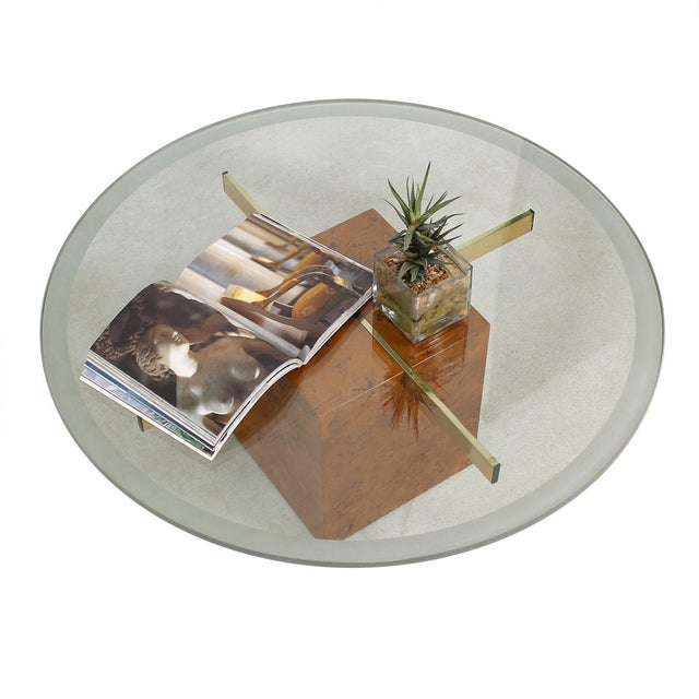 Brass Milo Baughman X-Base Glass & Burled Wood Coffee Table For Sale - Image 7 of 9