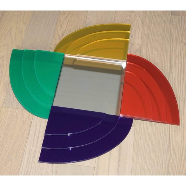 Blue 2007 Sottsass Postmodernism Mirror in Green Blue Yellow Pink for Glas Italia For Sale - Image 8 of 12