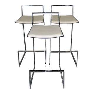 Modern Chrome & White Leather Bar Stools - Set of 3 For Sale