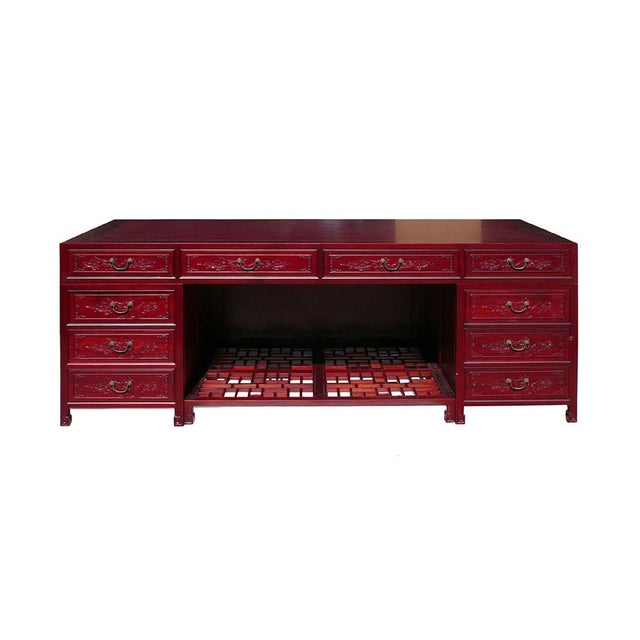 Long Rosewood Oriental Motif Office Desk/Table For Sale
