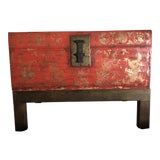 Image of Antique Chinese Lacquered Leather Trunk With Stand For Sale