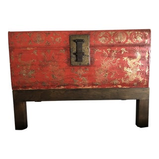Antique Chinese Lacquered Leather Trunk With Stand For Sale