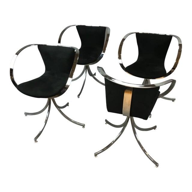 Modern Black & Chrome Swivel Chairs - Set of 4 For Sale
