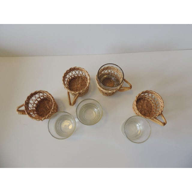 Set of (4) Woven Rattan Holders Drinking Glasses For Sale In Miami - Image 6 of 7