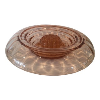 1930s Vintage Pink Depression Glass Console Bowl With Waterfall Rolled Ribbed Rim and Matching Glass Plant Frog For Sale