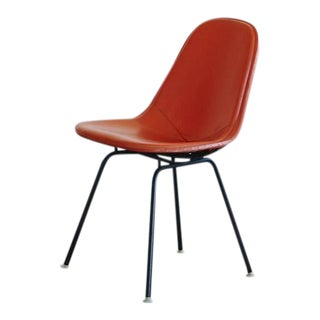 Original Eames DKX-1 Side Chair in Orange Leather for Herman Miller, 1960s For Sale