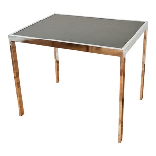 Mid-Century Design Institute America Silver Chrome and Black Rectangular End Table For Sale