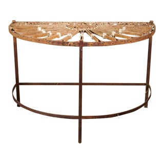 French Ironwork Transom mounted as a Demilune Table For Sale