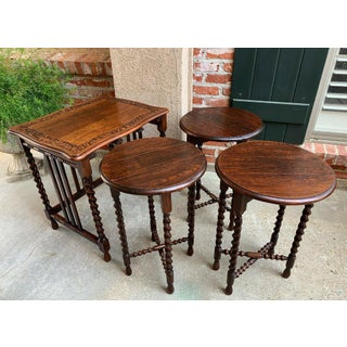 Set 4 Antique French Carved Oak Barley Twist Drop Leaf Nesting Table Folding End Preview