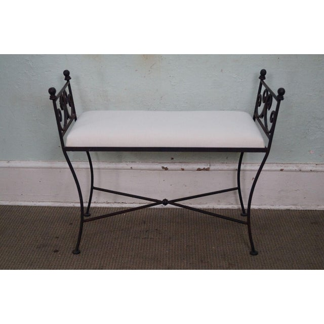 Black Iron Frame Regency Style Bench For Sale - Image 10 of 10