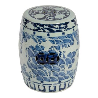 Asian Modern Blue & White Porcelain Dragon Garden Stool