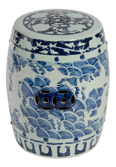 Asian Modern Blue U0026 White Porcelain Dragon Garden Stool